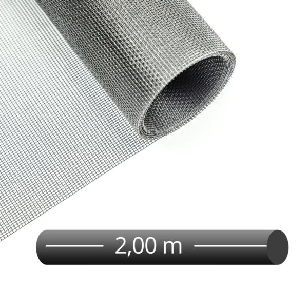 Fliegengitter Rolle Fiberglas Grau 200 cm