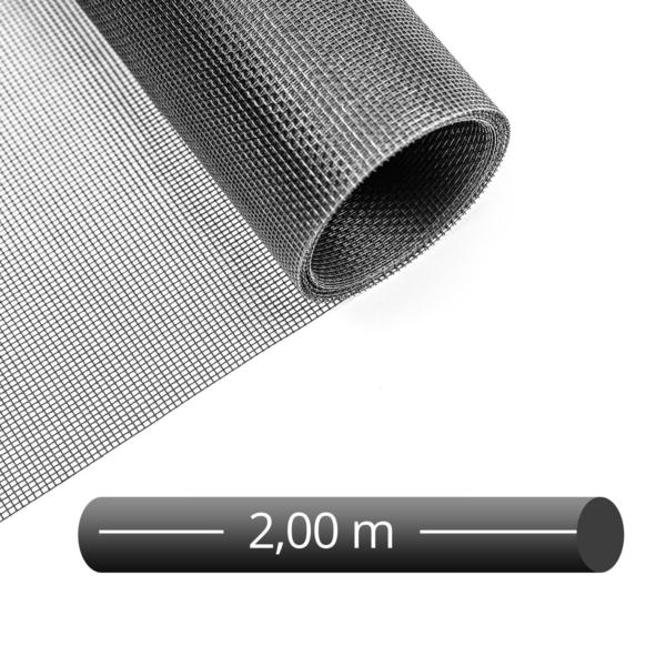 Fliegengitter Rolle Fiberglas schwarz 200 cm