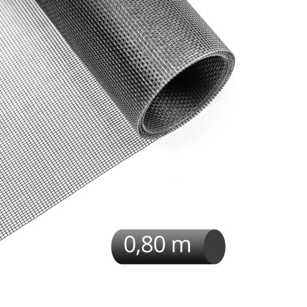 Fliegengitter Rolle Fiberglas schwarz 80 cm